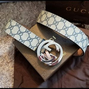 Other - Gucci tan leather blue monogram silver gg belt